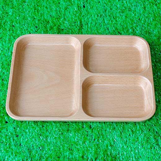 khay gỗ chữ nhật ba ngăn