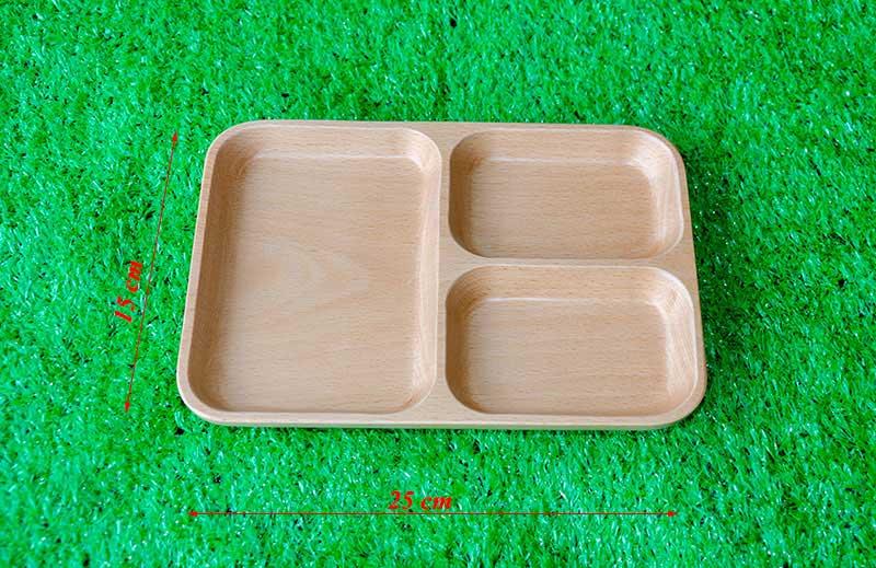 kích thước khay gỗ chữ nhật ba ngăn